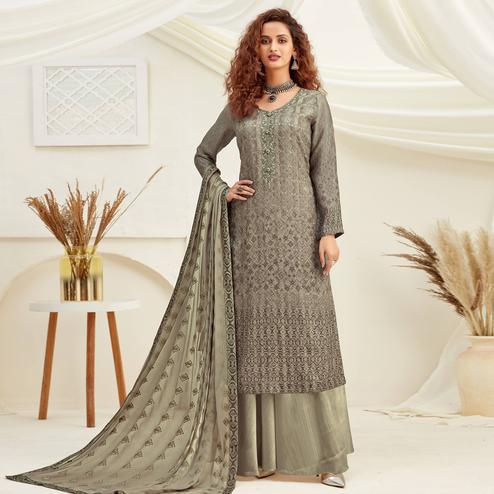 Trendy Greyish Green Colored Embroidered With Digital Printed Partywear Pure Viscose Chinnon Chiffon Palazzo Suit