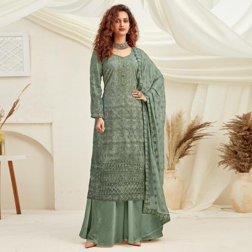 Elegant Green Colored Embroidered With Digital Printed Partywear Pure Viscose Chinnon Chiffon Palazzo Suit