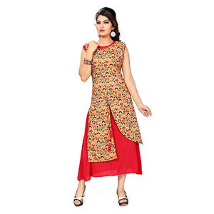 Fuschia Pink Colored Printed Kurti