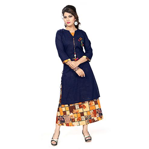 Navy Blue Colored Printed Kurti
