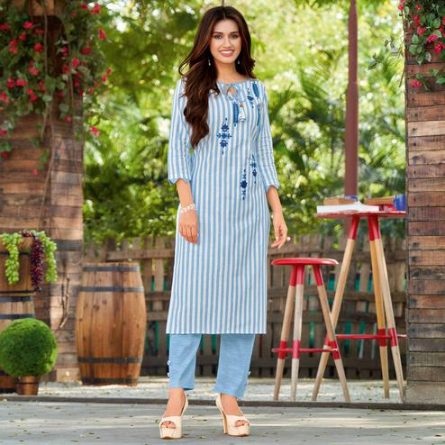 Alluring Light Blue Colored Casual Wear Embroidered Cotton Kurti - Pant Set