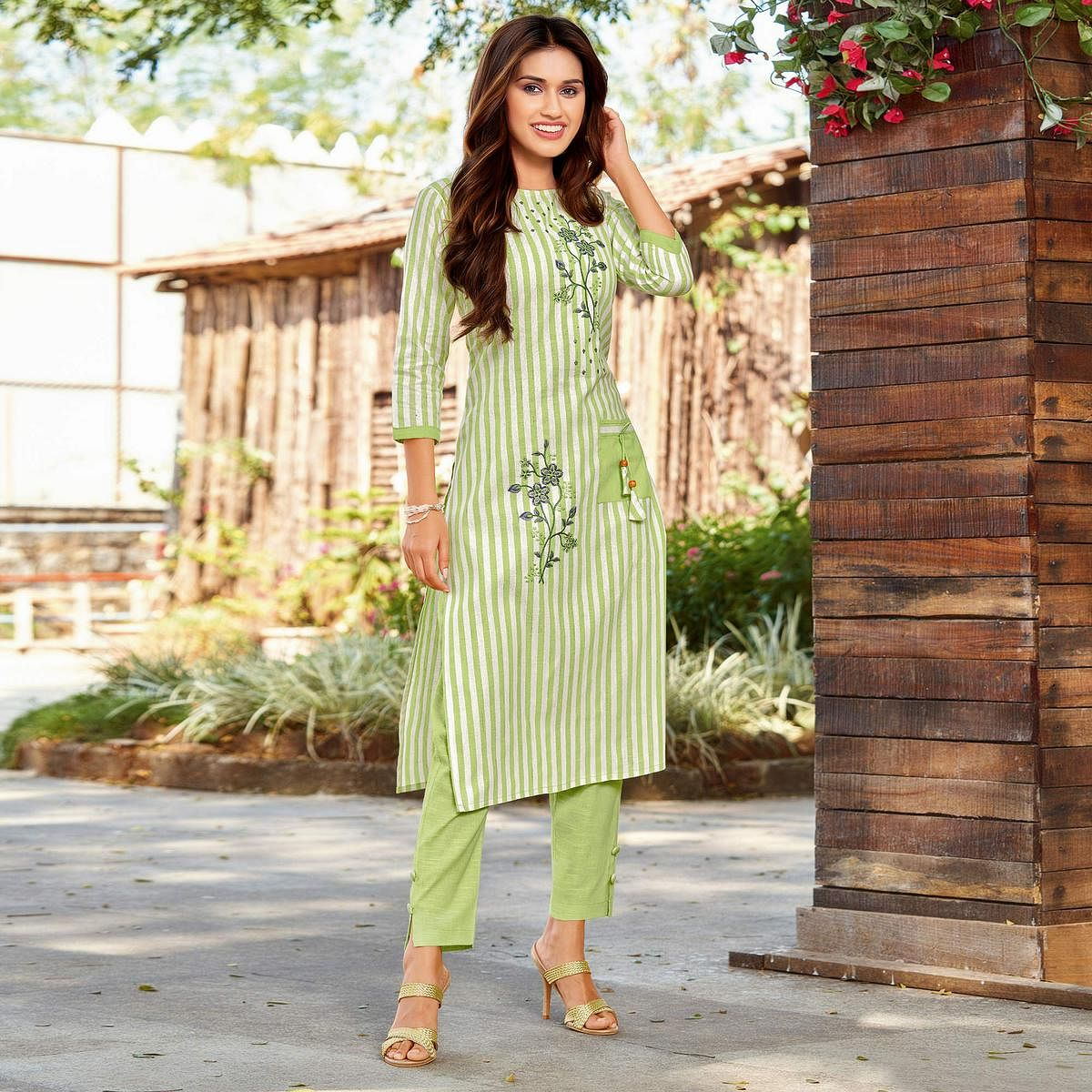 Flaunt Green Colored Casual Wear Embroidered Cotton Kurti - Pant Set