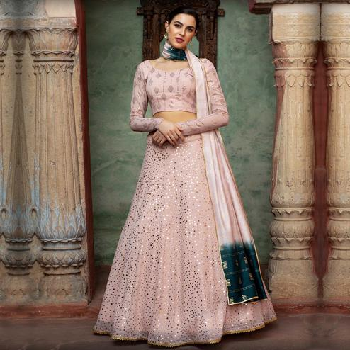 Graceful Dusty Pink Coloured Festive Wear Fancy Sequence Work Georgette Lehenga Choli