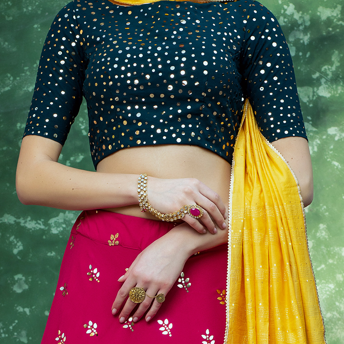Capricious Raani Coloured Festive Wear Fancy Sequence Work Georgette Lehenga Choli
