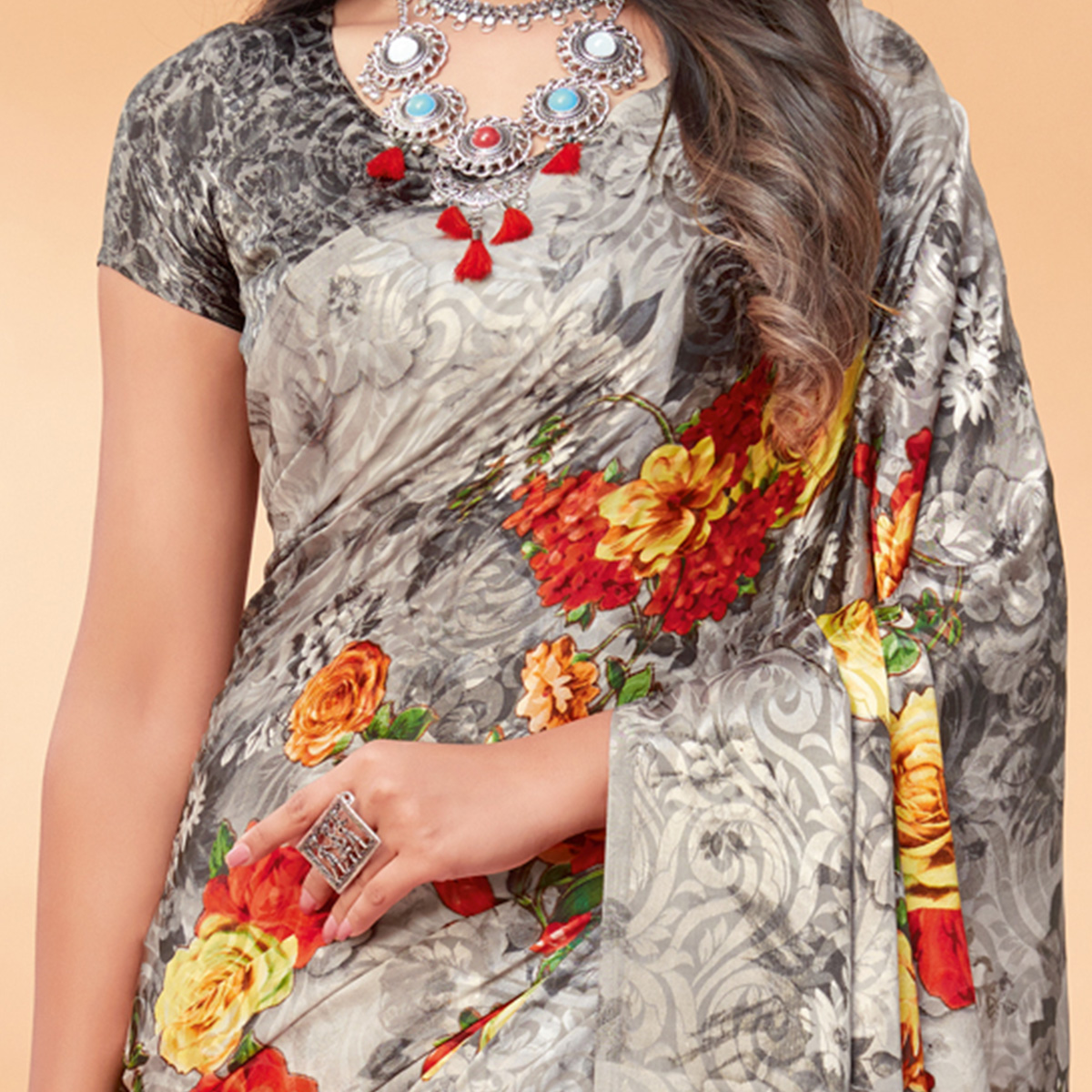 Groovy Grey Coloured Floral Printed Casual Wear Silk Jacquard Saree