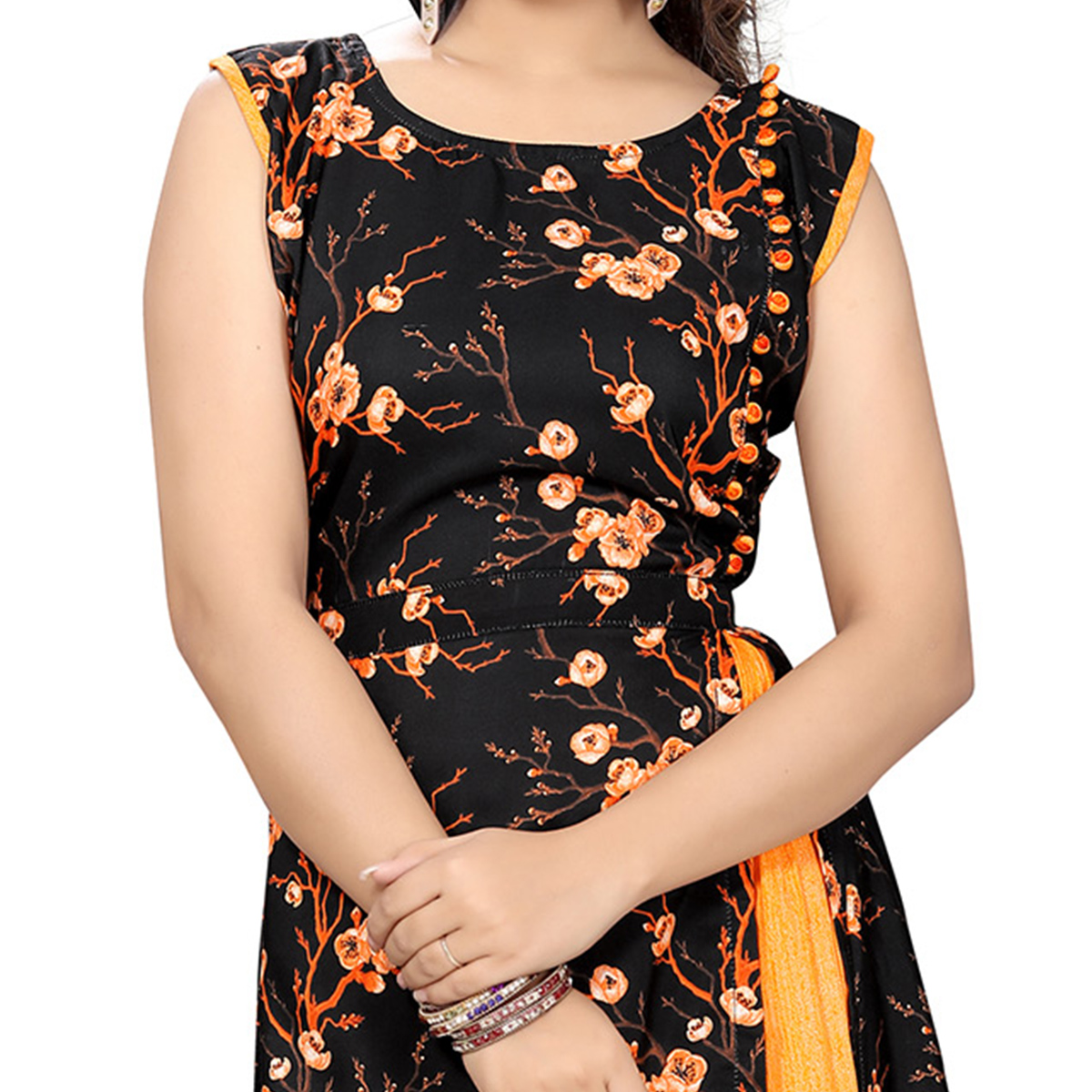 Black Colored Floral Printed Kurti