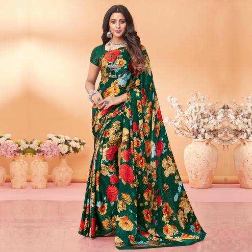 Dazzling Green Coloured Floral Printed Casual Wear Silk Jacquard Saree
