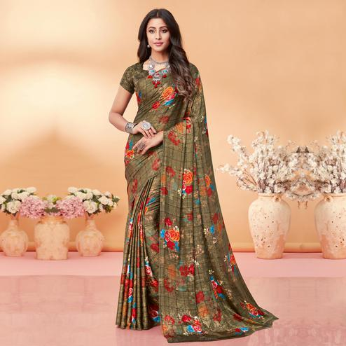Majesty Brown Coloured Floral Printed Casual Wear Silk Jacquard Saree