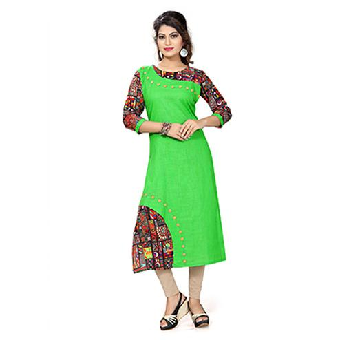 Green Colored Casual Printed Kurti