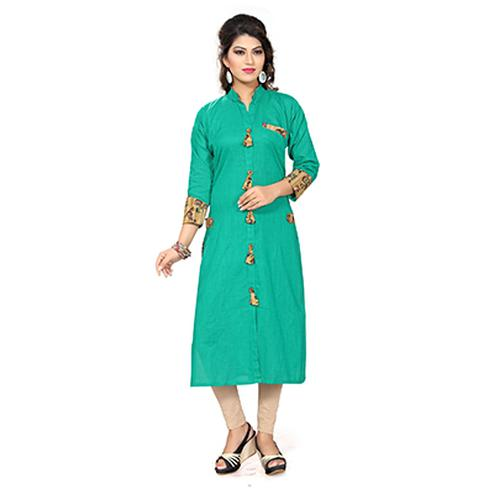 Turquoise Green Colored Printed Rayon Kurti