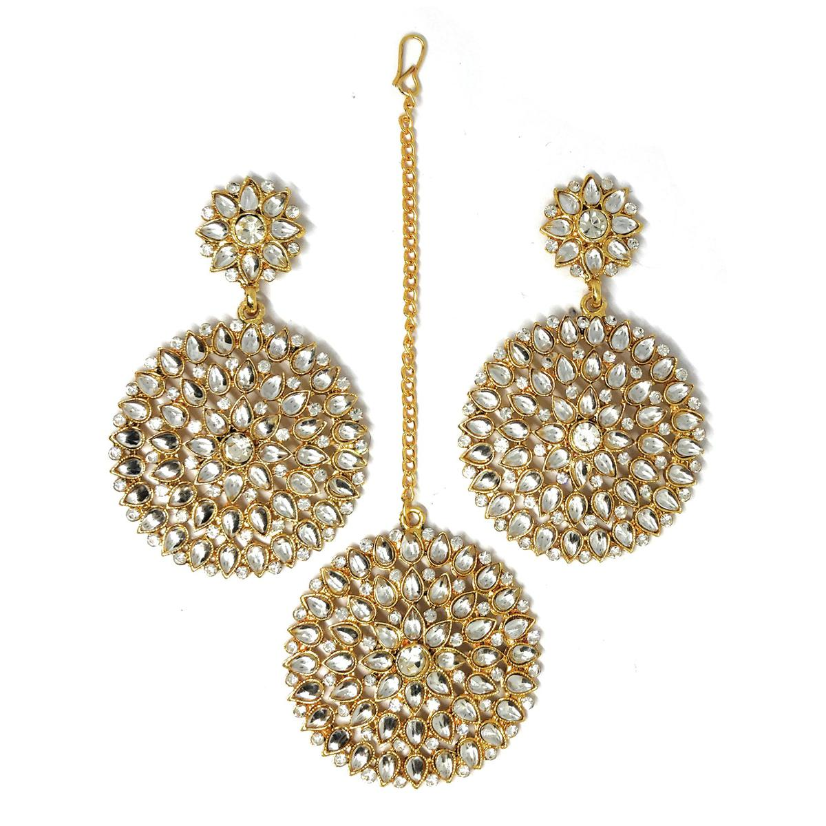 ZaffreCollections - Beautiful Round Silver Maang Tikka with Earrings Set for Women and Girls
