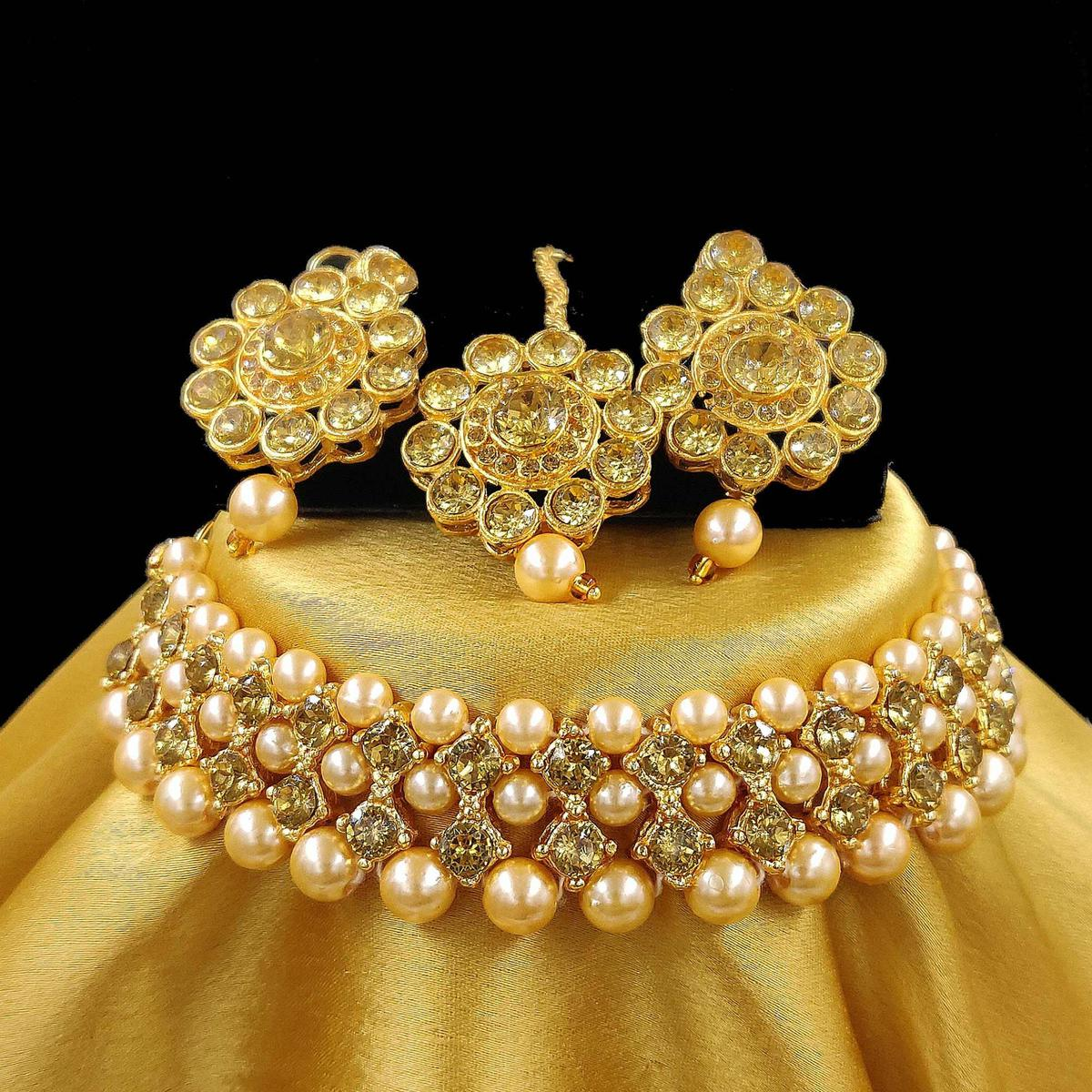 ZaffreCollections - Gold Choker set for Women and Girls