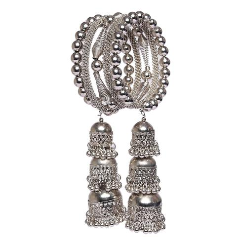 ZaffreCollections - Trendy Silver Adjustable Bangle for Women and Girls