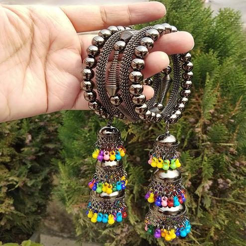 ZaffreCollections - Trendy Black Adjustable Bangle with Colorful Tassel