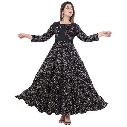 Poshak - Black Colored Rayon Printed Designer Kurti