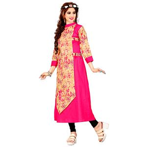 Pink Colored Casual Printed Kurti