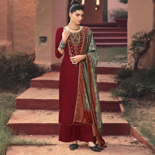 Amazing Maroon Colored Partywear Embroidered Georgette Palazzo Suit
