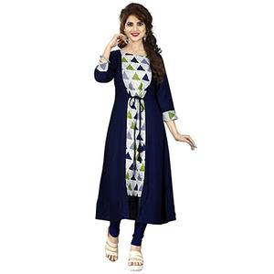 Navy Blue-White Colored Printed Kurti