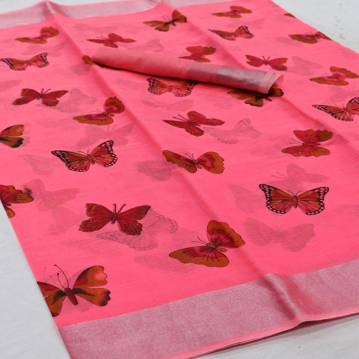 Flamboyant Pink Colored Casual Wear Butterfly Block Printed Cotton Linen Saree