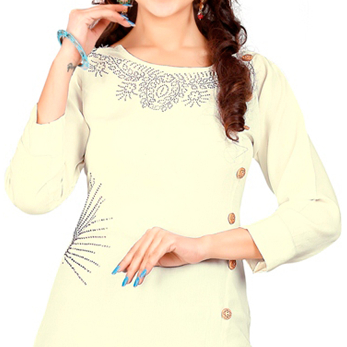 Cream Colored Casual Rayon Kurti