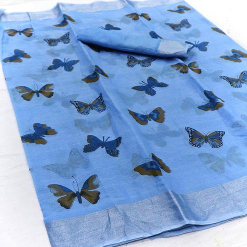 Sensational Blue Colored Casual Wear Butterfly Block Printed Cotton Linen Saree
