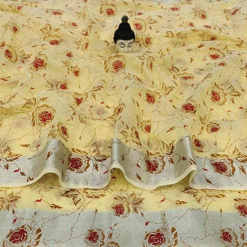 Capricious Yellow Colored Casual Wear Floral Block Printed Cotton Linen Saree