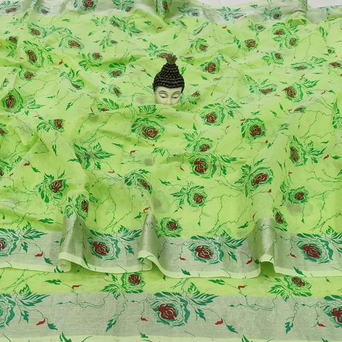 Entrancing Parrot Green Colored Casual Wear Floral Block Printed Cotton Linen Saree