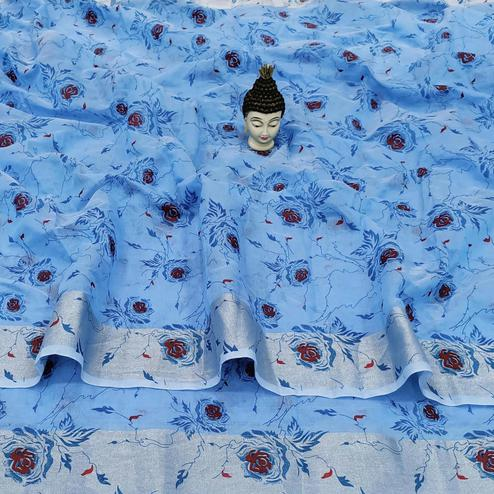 Groovy Blue Colored Casual Wear Floral Block Printed Cotton Linen Saree