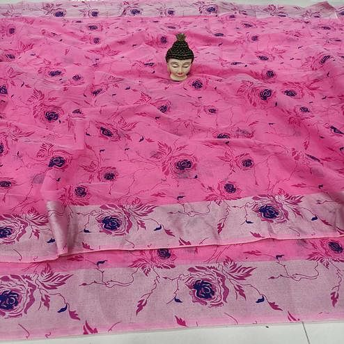 Adorning Pink Colored Casual Wear Floral Block Printed Cotton Linen Saree