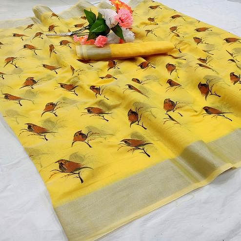 Glorious Yellow Colored Casual Wear Sparrow Block Printed Cotton Linen Saree