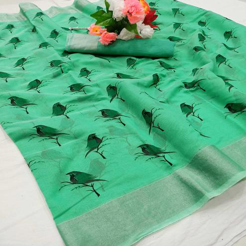 Attractive Turquoise Green Colored Casual Wear Sparrow Block Printed Cotton Linen Saree