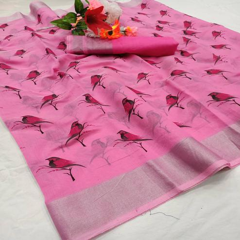 Blooming Pink Colored Casual Wear Sparrow Block Printed Cotton Linen Saree