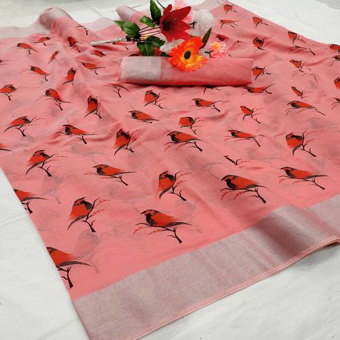 Charming Peach Colored Casual Wear Sparrow Block Printed Cotton Linen Saree