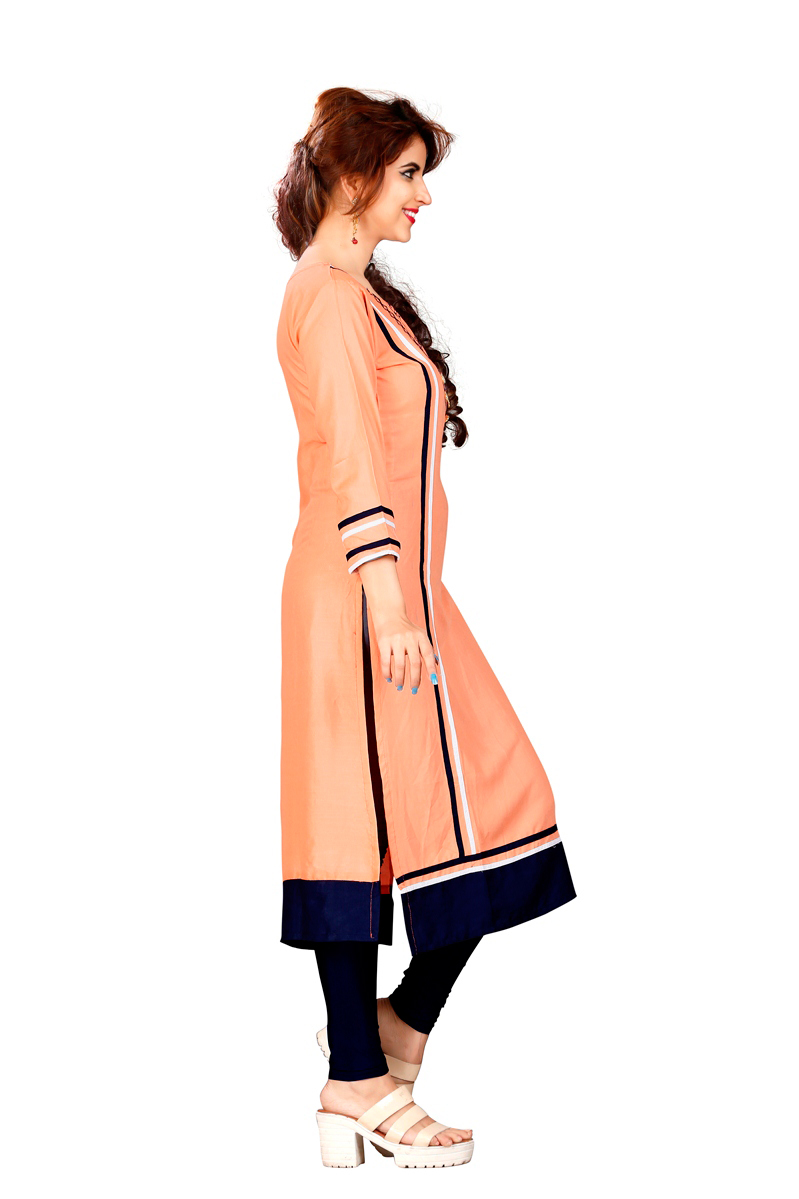 Peach Colored Casual Rayon Kurti
