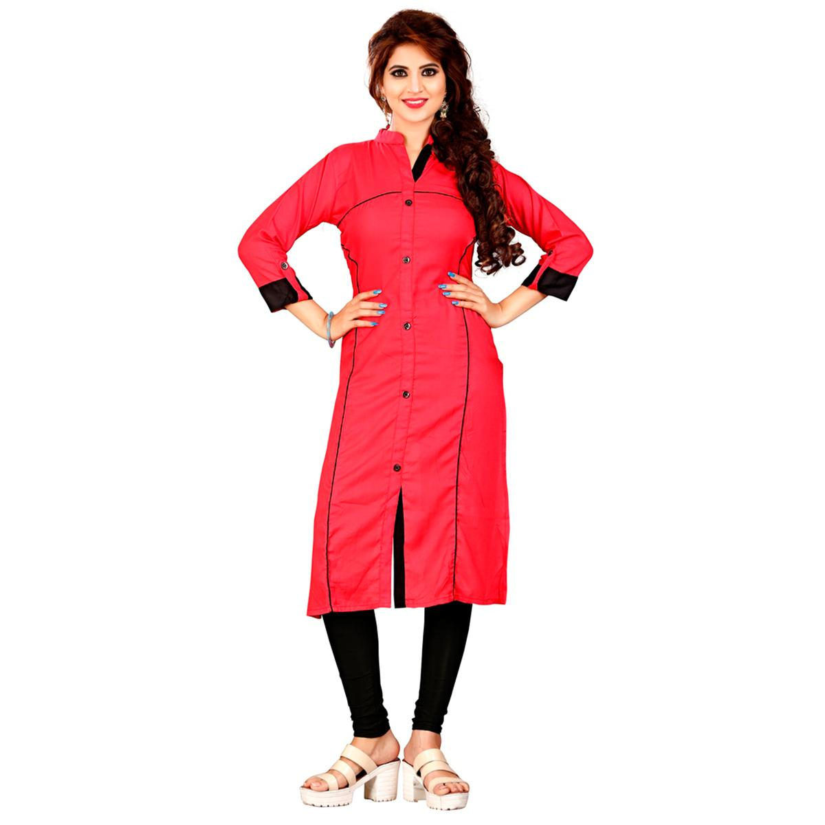 Red Colored Casual Rayon Kurti