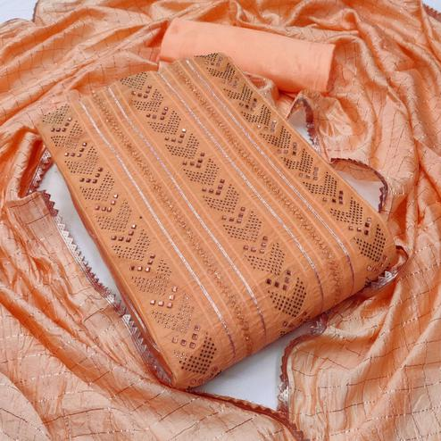 Intricate Peach Colored Partywear Embroidered Chanderi Cotton Dress Material