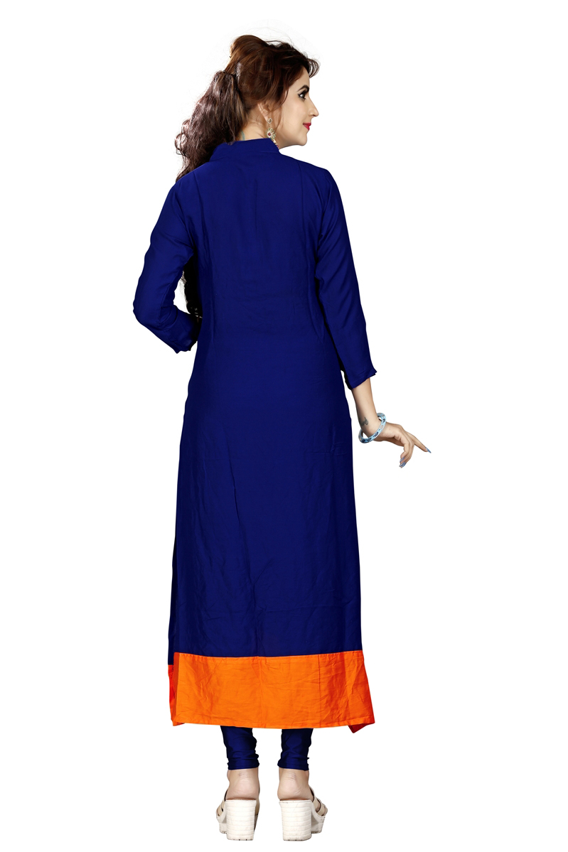 Royal Blue Colored Embroidered Rayon Kurti