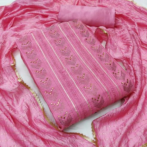 Arresting Pink Colored Partywear Embroidered Chanderi Cotton Dress Material