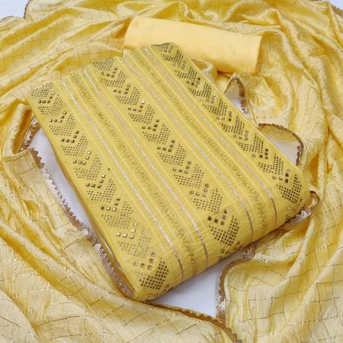Desirable Yellow Colored Partywear Embroidered Chanderi Cotton Dress Material
