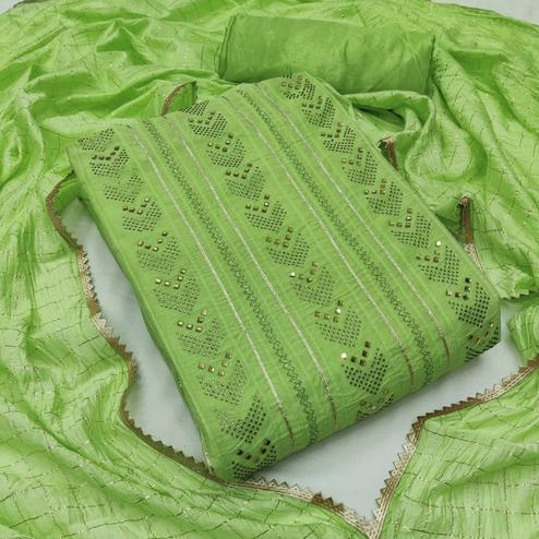 Exotic Green Colored Partywear Embroidered Chanderi Cotton Dress Material