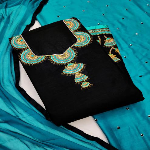 Iris - Black - Rama Colored Partywear Embroidered Cambric Cotton Dress Material