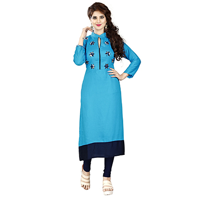 Sky Blue Colored Embroidered Rayon Kurti