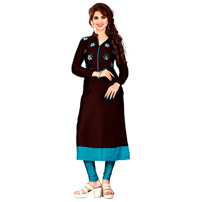 Brown Colored Embroidered Rayon Kurti