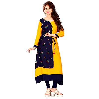 Navy Blue-Yellow Colored Embroidered Rayon Kurti