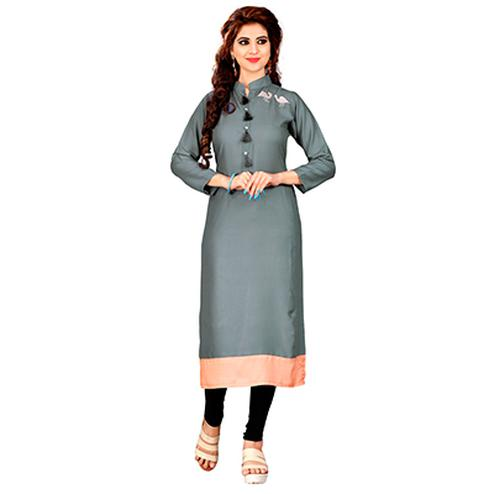Gray Colored Embroidered Patch Rayon Kurti