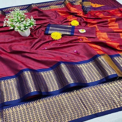 Marvellous Red Colored Festive Wear Jacquard Zari Work Border Soft Cotton Silk Saree