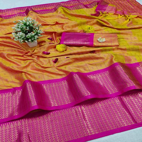 Pretty Lemon-Orange Colored Festive Wear Jacquard Zari Work Border Soft Cotton Silk Saree