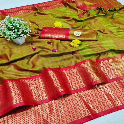 Sensational Mehndi Colored Festive Wear Jacquard Zari Work Border Soft Cotton Silk Saree