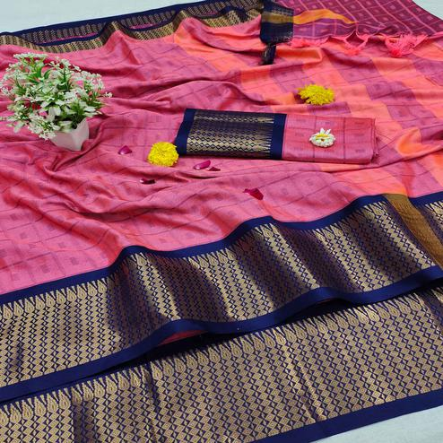 Stunning Gajari Colored Festive Wear Jacquard Zari Work Border Soft Cotton Silk Saree