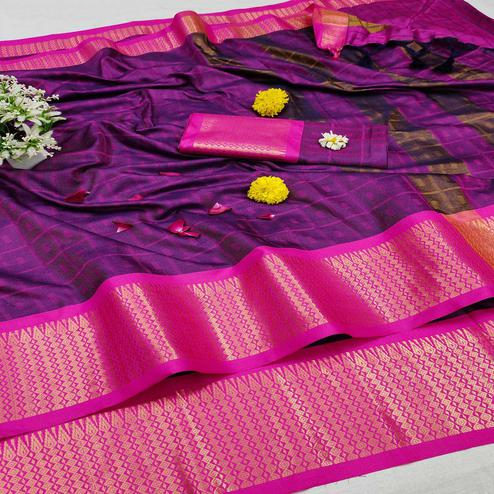 Flirty Purple Colored Festive Wear Jacquard Zari Work Border Soft Cotton Silk Saree